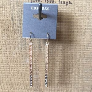Express Gold and Silver Crystal Stick Earrings